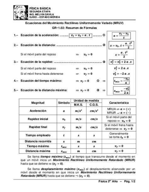PDF  Ecuaciones del Movimiento Rectilíneo Uniformemente ...