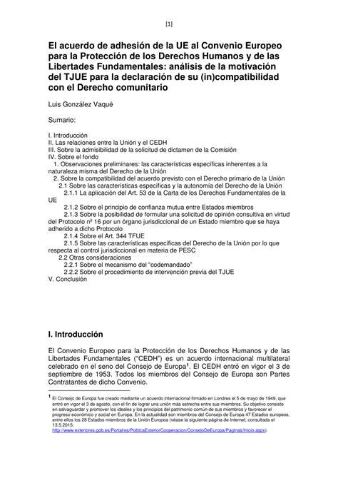 PDF  El Acuerdo de adhesión de la UE al Convenio europeo ...