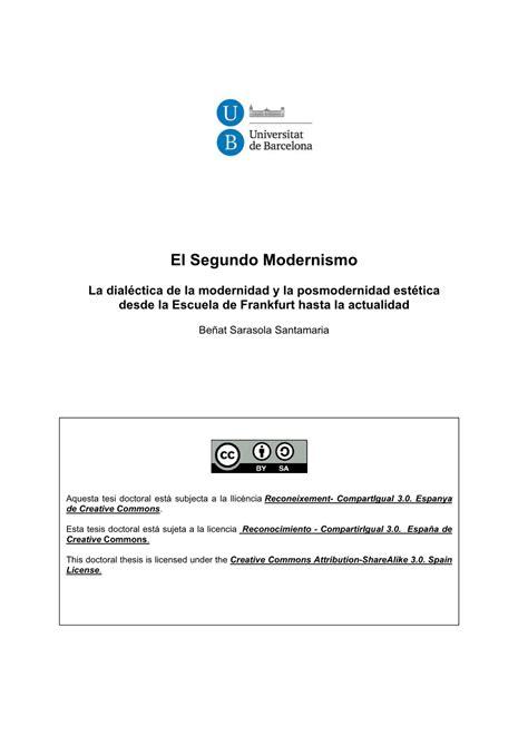 PDF  El Segundo Modernismo: La dialéctica de la ...