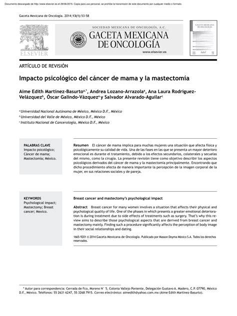 PDF  Impacto psicológico del cáncer de mama y la mastectomía