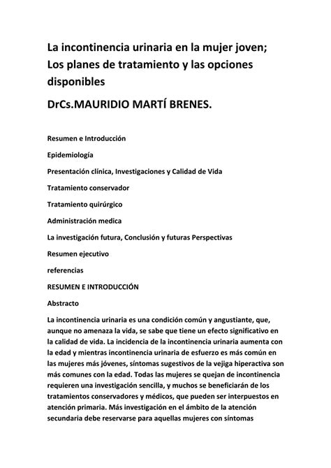 PDF  La incontinencia urinaria en la mujer joven; Los ...