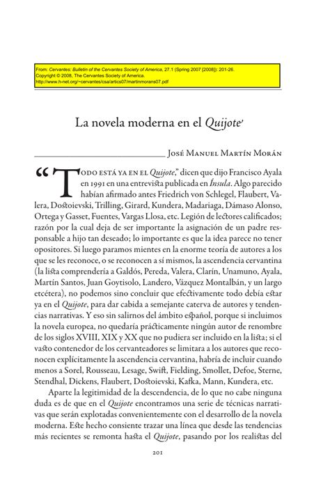 PDF  La novela moderna en el Quijote
