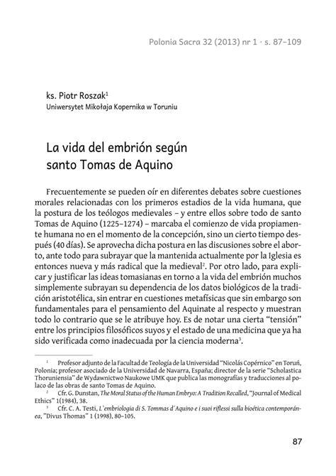 PDF  La vida del embrión según santo Tomas de Aquino