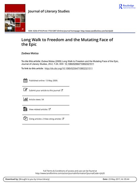 PDF  Long Walk to Freedom and the Mutating Face of the Epic
