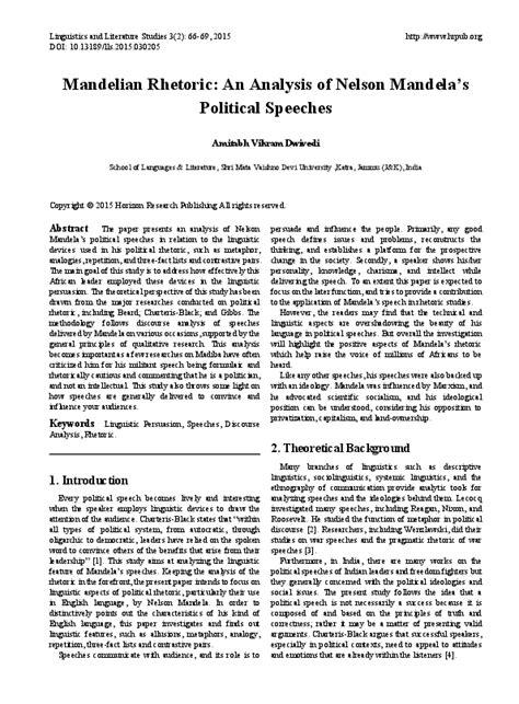 PDF  Mandelian Rhetoric: An Analysis of Nelson Mandela's ...