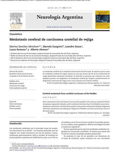 PDF  Metástasis cerebral de carcinoma urotelial de vejiga
