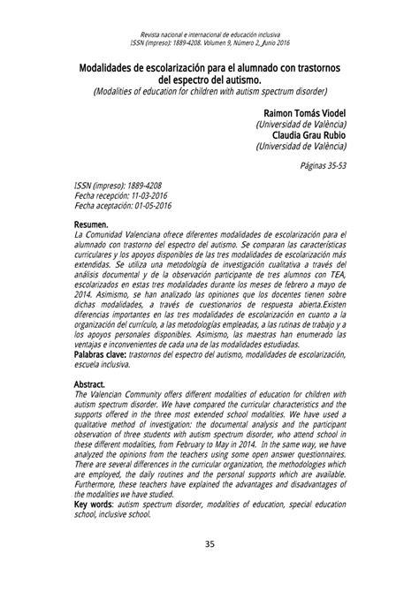 PDF  Modalidades de escolarización para el alumnado con ...