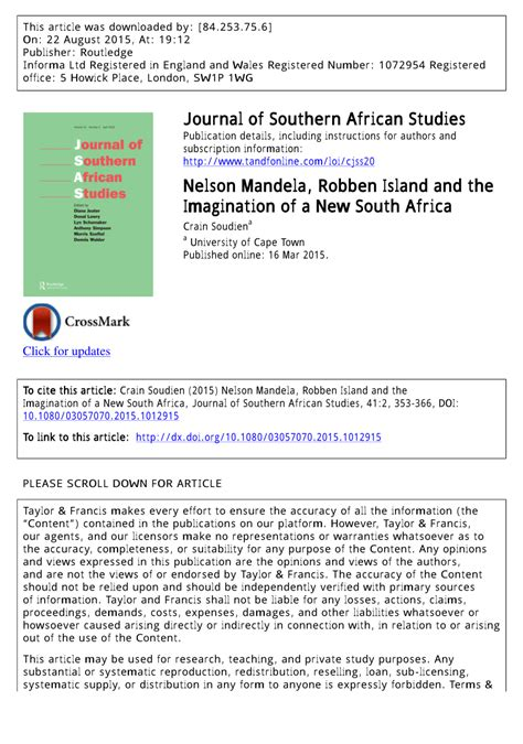 PDF  Nelson Mandela, Robben Island and the Imagination of ...