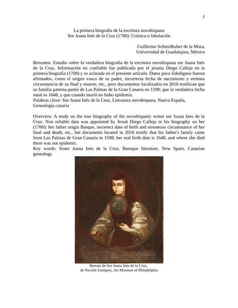 PDF  Pertinencia actual de la primera biografía de Sor ...