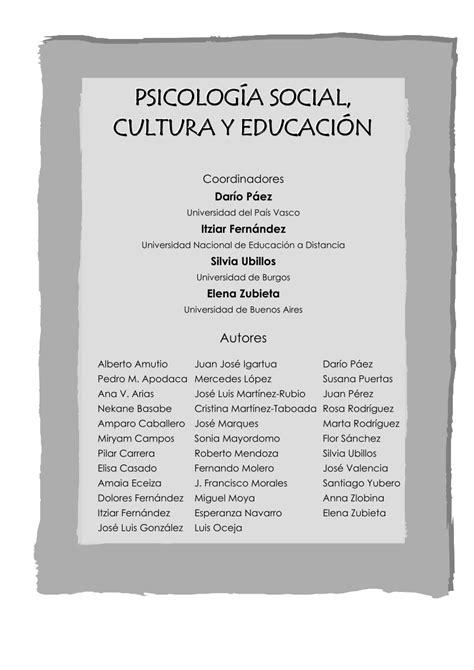PDF  Psicologia Social, Cultura y Educacion Libro ...