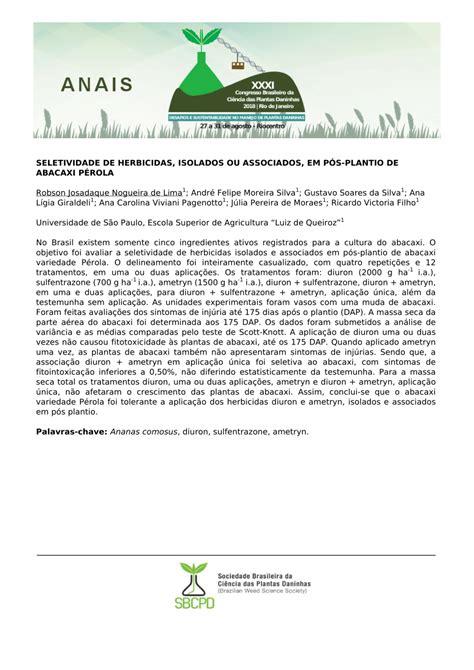 PDF  SELETIVIDADE DE HERBICIDAS, ISOLADOS OU ASSOCIADOS ...