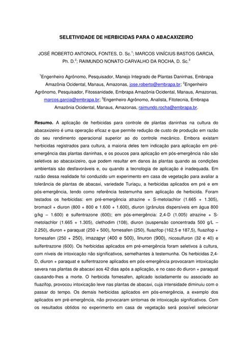 PDF  SELETIVIDADE DE HERBICIDAS PARA O ABACAXIZEIRO
