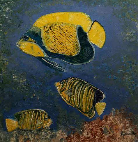 peces tropical , cuadro original, Óleo sobre Tabla ...