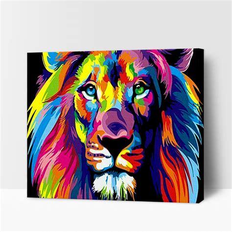 Peinture par numéros   Lion Coloré – DIY   Peinture par ...