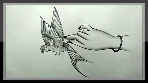 Pencil Drawing A Beautiful Flying Bird Picture Easy en ...