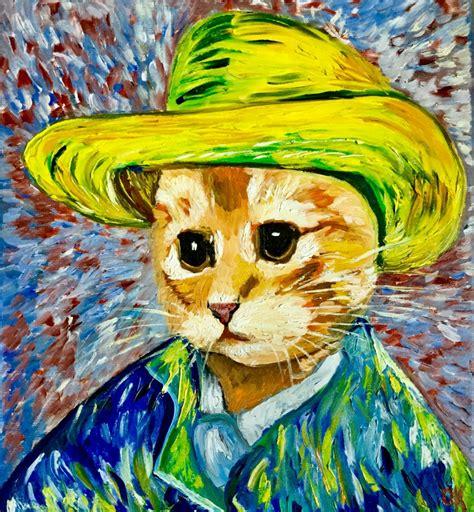Pensive cat La Vincent Van Gogh