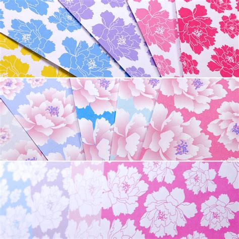 Peony Pattern Printable Origami Papers   Paper Kawaii Shop