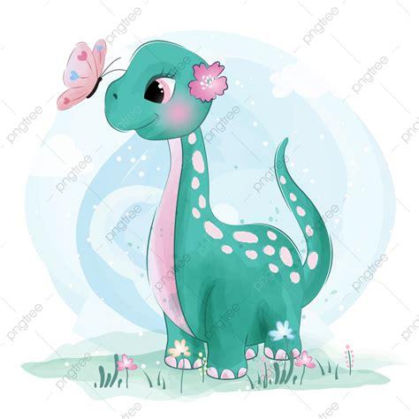 Pequeño Dinosaurio Lindo Con Mariposa, Acuarela ...