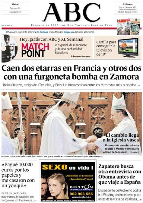 Periódico ABC  España . Periódicos de España. Edición de ...
