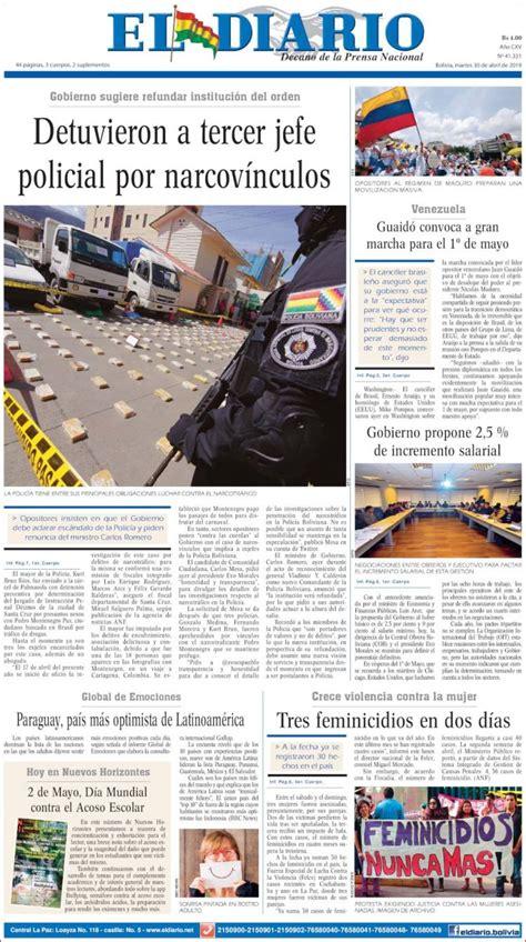 Periódico Noticias El Diario  Bolivia . Periódicos de ...