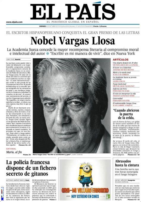 Periódicos Españoles informan sobre Premio Nobel a Mario ...