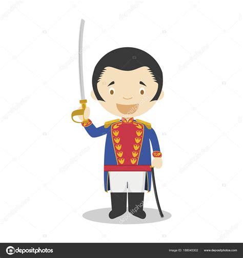 Personagem de desenho animado de Simon Bolivar. Ilustração ...