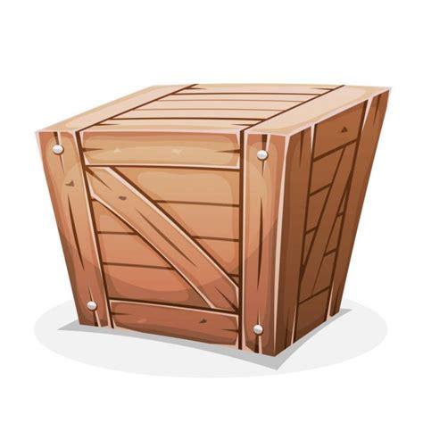 Personaje de caja de madera de dibujos animados vector ...