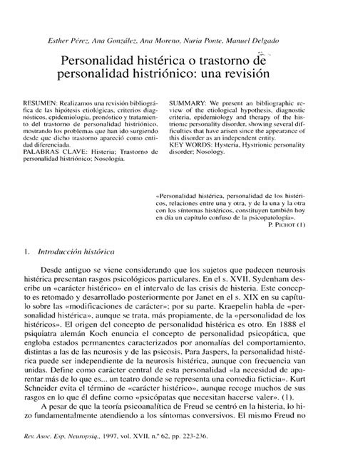 Personalidad histérica DSM 4 | Diagnostic And Statistical ...