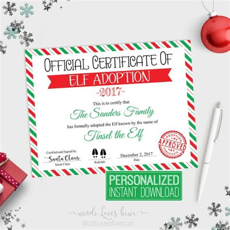 Personalized Elf Adoption Certificate Printable Official ...