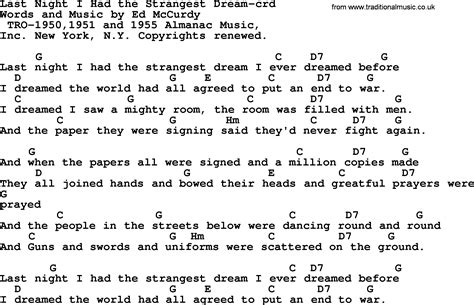 Pete Seeger song   Last Night I Had the Strangest Dream ...