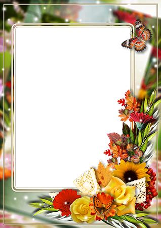 Photo frames. Photo frame with bright bunch of flowers