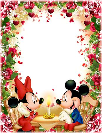 Photo frames. Romantic dinner of Mickey and Minnie Mouse