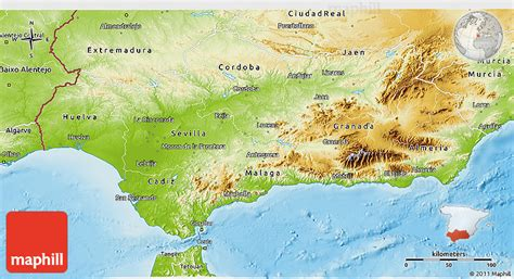 Physical 3D Map of Andalucia