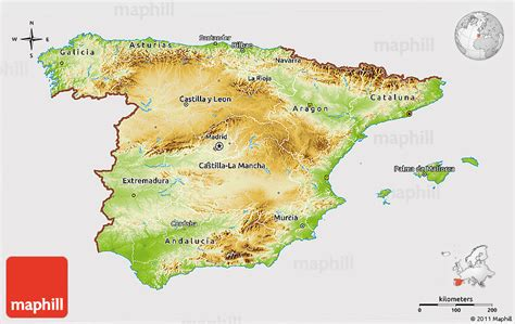 Physical 3D Map of Spain, cropped outside
