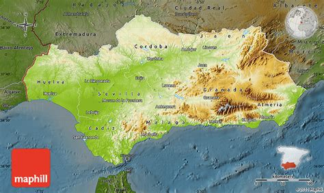 Physical Map of Andalucia, darken