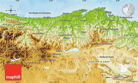 Physical Map of Cantabria