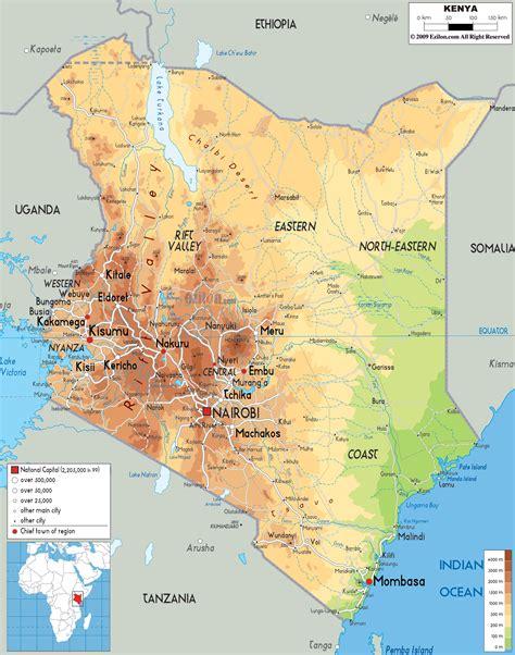 Physical Map of Kenya   Ezilon Maps