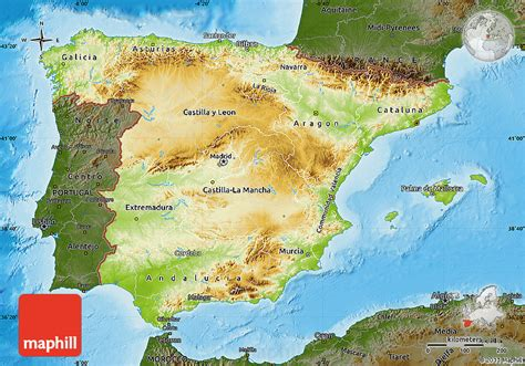 Physical Map of Spain, darken, land only