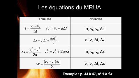 Physique 504   Les mouvements: Équations du MRUA et ...