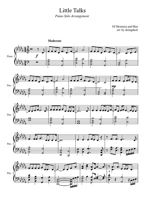 Piano sheet music for  Little Talks  by Monsters and Men ...