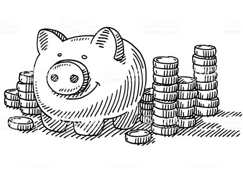 Piggy Bank Stacks Of Coins Savings Drawing Stock Vector ...