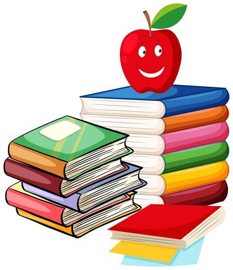 Pila de libros con manzana en la parte superior ...