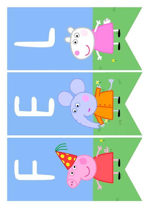 Pin de Raquel en Peppa Pig   Party | Banderines feliz ...