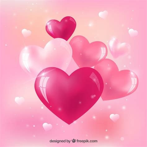 Pink glossy hearts Vector | Free Download