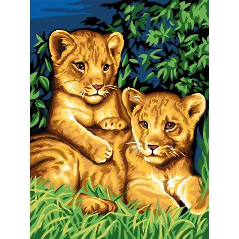 Pintura de números   Los dos leoncillos   Pintura por ...