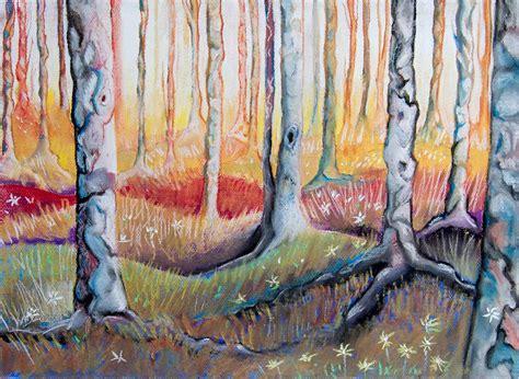 Pintura Pastel: Bosque con el fondo iluminado | Pintura y ...