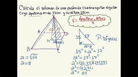 Pirámide, volumen a partir de apotema y altura   YouTube