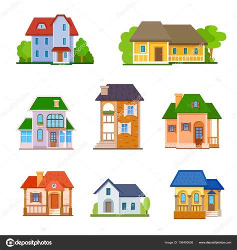 Plana Casas Icono Frente Conjunto Vector Ilustración ...