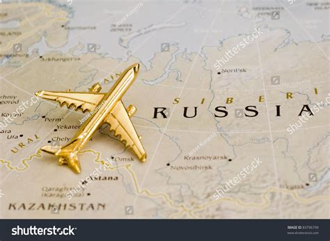Plane Over Russia Map Copyright Free Stock Photo 83796799 ...