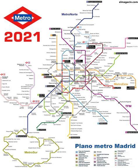 Plano de Metro de Madrid desde sus orígenes hasta 2021